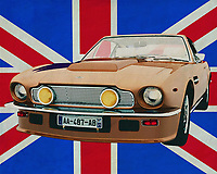 The Aston Martin V8 Vantage is a somewhat more modern car from the legendary Aston Martin series. The Aston Martin sports cars have become well known because they are regularly used in the James Bond films. Also on the track, the Aston Martins have won many races with flying colors.<br /> <br /> This painting of the Aston Martin V8 Vantage for the British flag can be purchased in various sizes and printed on canvas as well as wood and metal. You can also have it finished with an acrylic plate over it which gives it more depth. <br /> <br /> -<br /> BUY THIS PRINT AT<br /> <br /> FINE ART AMERICA<br /> ENGLISH<br /> https://janke.pixels.com/featured/aston-martin-v8-vantage-in-front-of-the-union-jack-jan-keteleer.html<br /> <br /> WADM / OH MY PRINTS<br /> DUTCH / FRENCH / GERMAN<br /> https://www.werkaandemuur.nl/nl/werk/Aston-Martin-V8-Vantage-voor-de-Union-Jack/659800/134?mediumId=1&size=70x55
