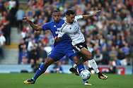 Kenneth Zohore of Cardiff City (L) battles with Ryan Fredericks of Fulham (R). EFL Skybet football league championship match, Fulham v Cardiff city at Craven Cottage in London on Saturday 9th September 2017.<br /> pic by Steffan Bowen, Andrew Orchard sports photography.