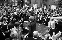Margaret Thatcher seen victorious after the election in 1979. She leaves her London home in Flood Street for Downing Street surrounded by a large crowd of well-wishers and press. Photograph by Terry Fincher