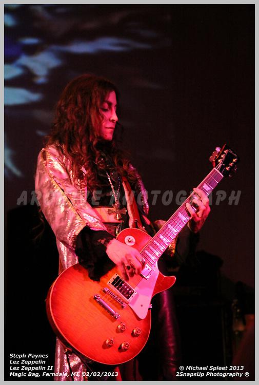 FERNDALE, MI, SATURDAY, FEB. 02, 2013: Lez Zeppelin, Led Zeppelin II Steph Paynes at Magic Bag, Ferndale, MI, 02/02/2013.  (Image Credit: Michael Spleet / 2SnapsUp Photography)