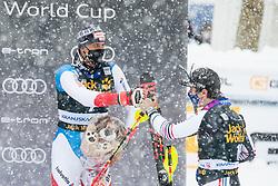 Muffat Jeandet Victor (FRA) with Zenhaeusern Ramon (SUI) during trophy ceremony at the Audi FIS Alpine Ski World Cup Men's  Slalom at 60th Vitranc Cup 2021 on March 14, 2021 in Podkoren, Kranjska Gora, Slovenia Photo by Grega Valancic / Sportida