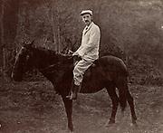 Robert Louis Balfour Stevenson (1850-1894) Scottish author, born in Edinburgh.  Stevenson in Samoa on his horse 'Jack'. From 'Vailima Letters' (London, 1895), correspondence from Stevenson to Sidney Colvin 1890-1894.  Photograph.