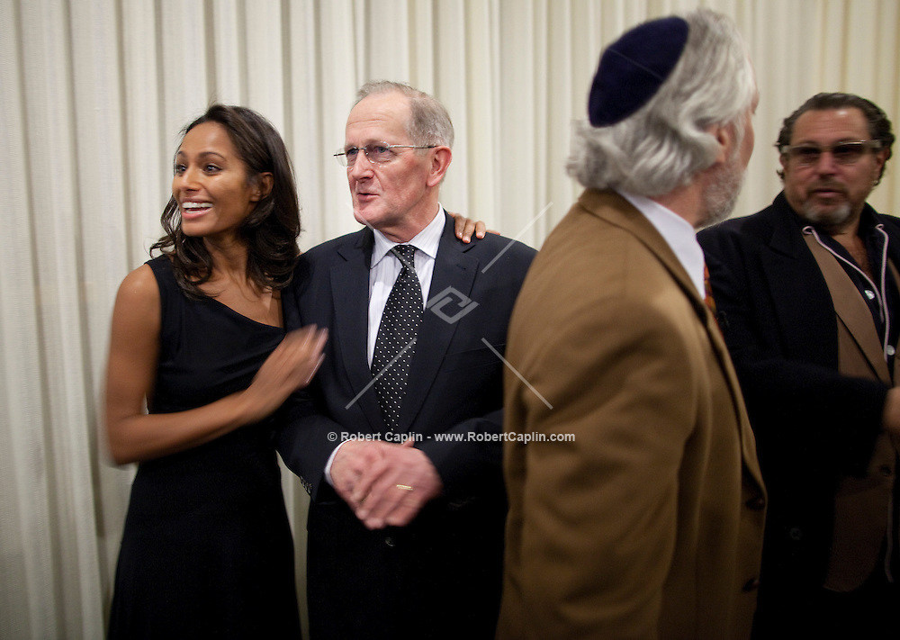 Palestinian journalist Rula Jebreal with Joseph Deiss, president of the General Assembly of the United Nations, at the New York premiere of Miral, held at the United Nations in New York...Photo by Robert Caplin.