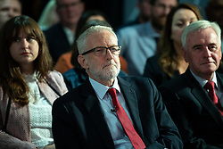 © Licensed to London News Pictures . 02/09/2019. Salford , UK. JEREMY CORBYN . Members of the shadow cabinet and regional devolved mayors attend a speech and Q&A by Labour Party leader Jeremy Corbyn at The Landing Media City in Salford . Photo credit: Joel Goodman/LNP