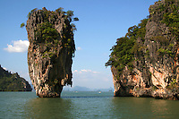 """James Bond Island, called Koh Tapu by locals, one of the main tourist attractions in Phang Nga bay as it featured in """"The Man with the Golden Gun"""" noted for its unique shape."""