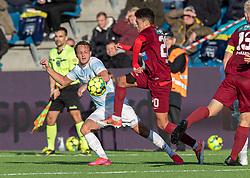 Frederik Bay (FC Helsingør) og Thomas Santos (Skive IK) under kampen i 1. Division mellem FC Helsingør og Skive IK den 18. oktober 2020 på Helsingør Stadion (Foto: Claus Birch).