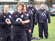 29 Feb 2010 Esher, Surrey: England's Gary Street and Graham Smith watch the England team warm up before the Women's Six Nations game between England and Ireland at Esher Rugby Club (photo by Andrew Tobin/SLIK images)