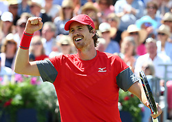 June 21, 2018 - London, United Kingdom - Marcus Daniell  (NZL) (Red)  in action .during Fever-Tree Championships 2nd Round match between Jamie Murray  Bruno Soares (BRA) against Marcus Daniell  (NZL) AND Wesley Koolhof ( NED ) at The Queen's Club, London, on 21 June 2018  (Credit Image: © Kieran Galvin/NurPhoto via ZUMA Press)