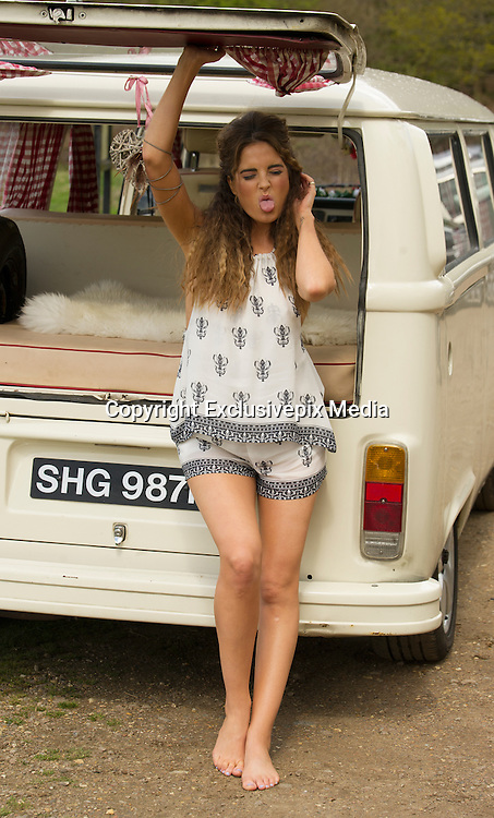 EXCLUSIVE<br /> Made in Chelsea star Binky Felstead looking sexy while shooting fashion shoot in Epping Forest .<br /> ©Exclusivepix Media
