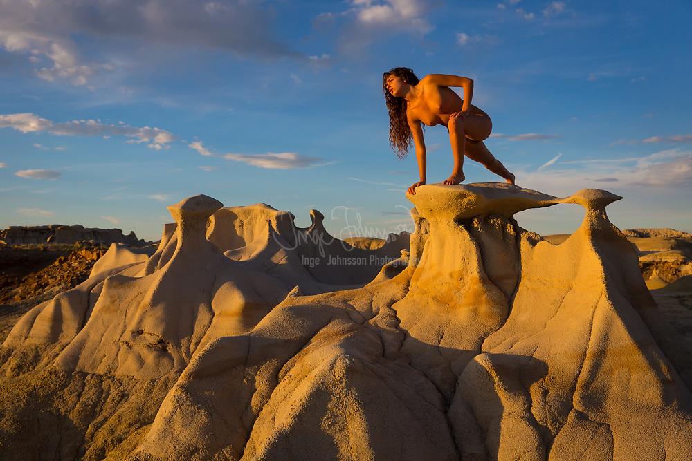 Female nude in the landscape, Bisti Wilderness, New Mexico