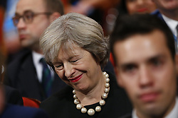 October 2, 2016 - Birmingham, West Midlands, UK - Birmingham, UK. Prime Minister THERESA MAY listens the opening speech at Conservative Party Conference at International Conference Centre in Birmingham on Sunday, 2 October 2016, the fist day of the conference. (Credit Image: © Tolga Akmen/London News Pictures via ZUMA Wire)