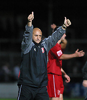Photo: Dave Linney.<br />Hereford United v Walsall. Coca Cola League 2. 18/11/2006.Walsall Mgr  Richard Money salutes the fans at the end of the game.