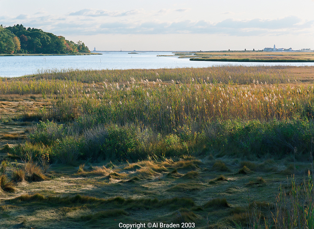 Marshes at Black Hall River with views to Saybrook lighthouses, Old Lyme, CT., near the mouth of the Connecticut River.