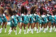 Jaguars cheerleaders perform during the NFL game between Houston Texans and Jacksonville Jaguars at Wembley Stadium in London, United Kingdom. 03 November 2019