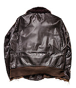 """Navy G-1 flight jacket of WWII veteran Cdr. Leroy Robinson, a confirmed """"ace"""" in the Pacific Theatre.  He later flew in Korea, and then was a Captain for Delta Air Lines for 32 years."""