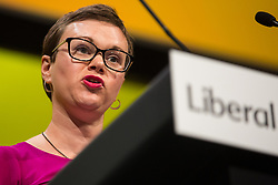 Bournemouth, UK. 15 September, 2019. Hannah Kitching, Liberal Democrat PPC for Penistone & Stocksbridge, speaks on the Stop Brexit motion during the Liberal Democrat Autumn Conference. Following a vote won by an overwhelming majority, the Liberal Democrats pledged to cancel Brexit if they win power at the next general election. This marks a shift in policy from their previous backing for a People's Vote. Credit: Mark Kerrison/Alamy Live News