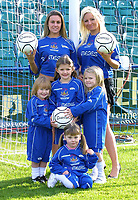 Photo: Dave Linney.<br />Chasetown v Oldham Athletic. The FA Cup. 06/11/2005.<br />Becki Jones/left & Kerry Parkes with mascots for the day in the FA Cup.
