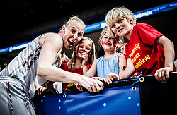 Ann Wauters of Belgium celebrates with her kids after winning during basketball match between Women National teams of Belgium and Slovenia in the Qualification for the Quarter-Finals of Women's Eurobasket 2019, on July 2, 2019 in Belgrade Arena, Belgrade, Serbia. Photo by Vid Ponikvar / Sportida