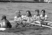 Kingston on Thames, United Kingdom.  OUWBC. stroke Ali GILL,  The final Round of the Leyland Daf Sprint series, at Kingston RC on the River Thames, Surrey, England, <br /> <br /> Saturday 04.05.1987<br /> <br /> [Mandatory Credit; Peter Spurrier/Intersport-images] 1987 Leyland Daf Sprints, Kingston. UK