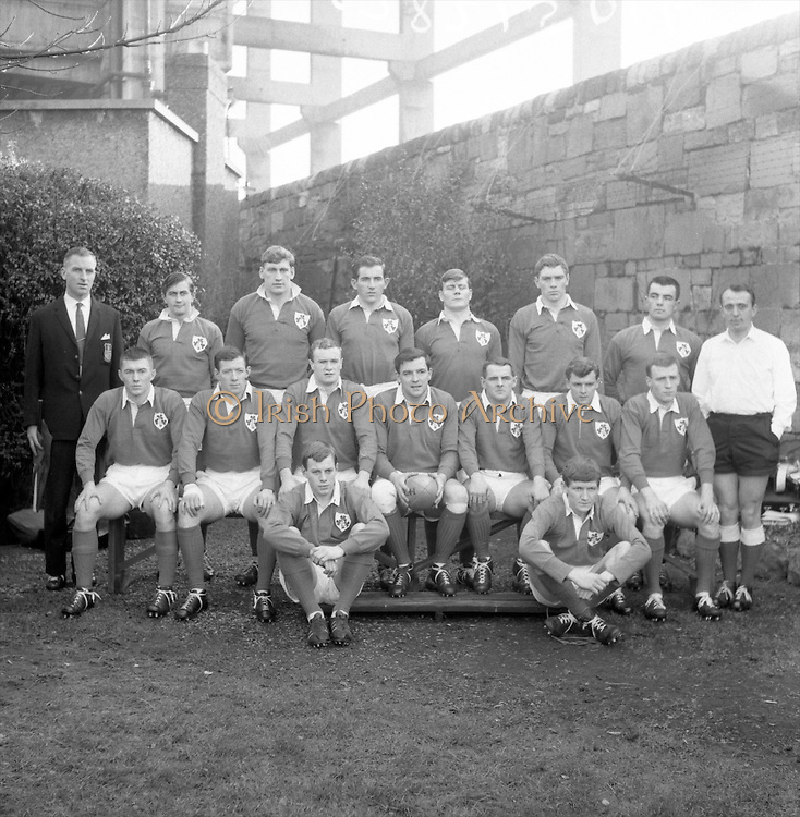 The Irish team which beat the Australians by 15 points to 8 at Landsdowne Road, Dublin, Saturday 21st January, 1967,..Irish Rugby Football Union, Ireland v Australia, Tour Match, Landsdowne Road, Dublin, Ireland, Saturday 21st January, 1967,.21.1.1967, 1.21.1967,..Referee- M Joseph, Welsh Rugby Union, ..Score- Ireland 15 - 8 Australia, ..Irish Team, ..T J Kiernan,  Wearing number 15 Irish jersey, Full Back, Cork Constitution Rugby Football Club, Cork, Ireland,..A T A Duggan, Wearing number 14 Irish jersey, Right Wing, Landsdowne Rugby Football Club, Dublin, Ireland,..F P K Bresnihan, Wearing number 13 Irish jersey, Right Centre, University College Dublin Rugby Football Club, Dublin, Ireland, ..H H Rea, Wearing number 12 Irish jersey, Left Centre, Edinburgh University Rugby Football Club, Edinburgh, Scotland, ..P J McGrath,  Wearing number 11 Irish jersey, Left Wing, University college Cork Rugby Football Club, Cork, Ireland,  ..C M H Gibson, Wearing number 10 Irish jersey, Stand Off, N.I.F.C, Rugby Football Club, Belfast, Northern Ireland, ..B F Sherry, Wearing number 9 Irish jersey, Scrum Half, Terenure Rugby Football Club, Dublin, Ireland, ..K G Goodall, Wearing number 8 Irish jersey, Forward, Newcastle University Rugby Football Club, Newcastle, England, ..M G Doyle, Wearing number 7 Irish jersey, Forward, Edinburgh Wanderers Rugby Football Club, Edinburgh, Scotland, ..N Murphy, Wearing number 6 Irish jersey, Forward, Cork Constitution Rugby Football Club, Cork, Ireland,..M Molloy, Wearing number 5 Irish jersey, Forward, University College Galway Rugby Football Club, Galway, Ireland,  ..W J McBride, Wearing number 4 Irish jersey, Forward, Ballymena Rugby Football Club, Antrim, Northern Ireland,..P O'Callaghan, Wearing number 3 Irish jersey, Forward, Dolphin Rugby Football Club, Cork, Ireland, ..K W Kennedy, Wearing number 2 Irish jersey, Forward, C I Y M S Rugby Football Club, Belfast, Northern Ireland, ..T A Moroney, Wearing number 1 Irish jersey, Forward, Univer