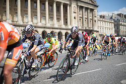 Dani King (GBR) of Wiggle Hi5 Cycling Team leans into the penultimate corner of the race loop during the La Course, a 89 km road race in Paris on July 24, 2016 in France.