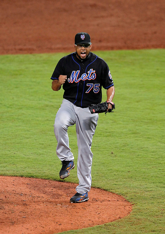 ATLANTA - AUGUST 03:  Pitcher Francisco Rodriguez #75 of the New York Mets celebrates after the last out of the game against the Atlanta Braves at Turner Field on August 3, 2010 in Atlanta, Georgia.  (Photo by Mike Zarrilli/Getty Images)