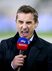Sky Sports Pundit Gary Neville commentates on the match prior to the beginning of the Premier League match at London Stadium.