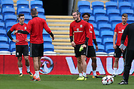 Gareth Bale of Wales (c) looks on during the Wales football team training at the Cardiff city Stadium in Cardiff , South Wales on Friday 1st September 2017.  the team are preparing for their FIFA World Cup qualifier home to Austria tomorrow.  pic by Andrew Orchard, Andrew Orchard sports photography