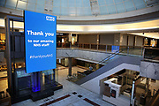 A huge LED screen thanking health workers in Brent Cross Shopping Centre which is nearly deserted, with only one food store staying open, during the Coronavirus pandemic on 23th April 2020 in London, United Kingdom. The government clampdown includes the closure of most shops, bars and theatres throughout the country.