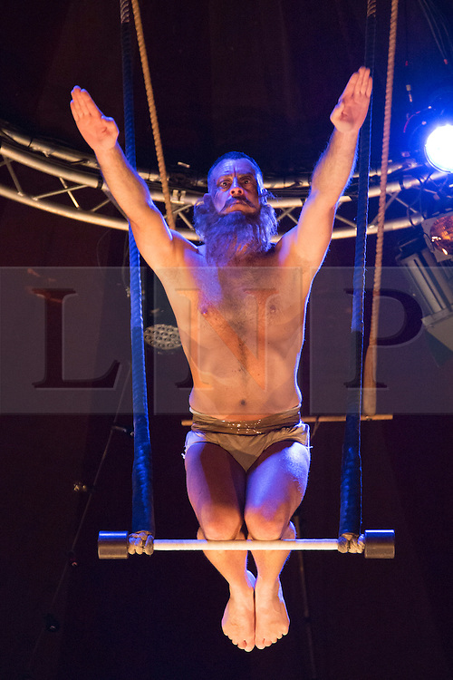 © Licensed to London News Pictures. 19/05/2015. London, UK. Trapeze act with Mozes. The show Scotch & Soda headlines London Wonderground from 14 May to 2 August 2015 as Underbelly and Southbank Centre present a 4th summer of entertainment.  Photo credit : Bettina Strenske/LNP