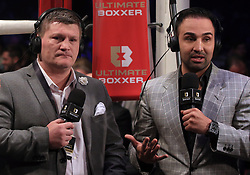 Ricky Hatton (left) and Paulie Malignaggi during the Ultimate Boxxer competition at the M.E.N. Arena, Manchester. PRESS ASSOCIATION Photo. Picture date: Friday April 27, 2018. See PA story BOXING Manchester. Photo credit should read: Peter Byrne/PA Wire