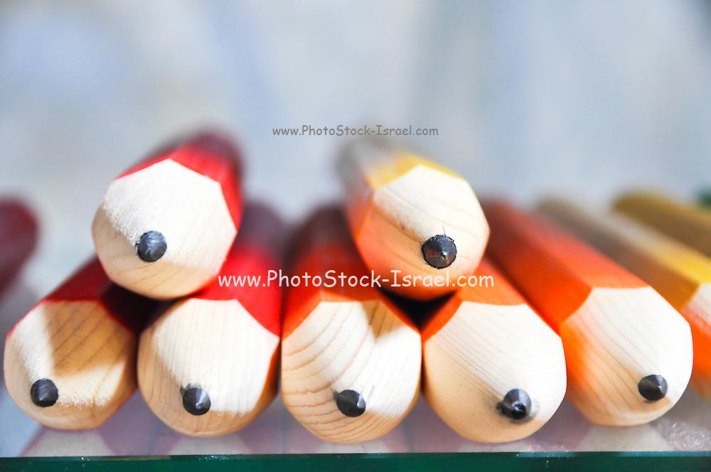 Sharp coloured pencils. Close up Selective focus