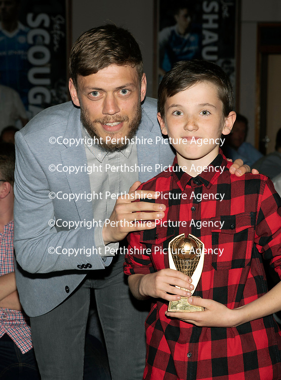 St Johnstone FC Player of the Year Awards 2017-18<br />Super J's Player of the Year is Murray Davidson presented by Liam Sinclair<br />Picture by Graeme Hart.<br />Copyright Perthshire Picture Agency<br />Tel: 01738 623350  Mobile: 07990 594431