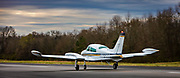 A 1975 CESSNA 310R aircraft  just after landing at the Tom B. David airport in Calhoun, Georgia.  <br />