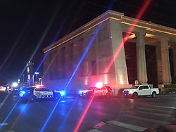 LAS VEGAS, Oct. 2, 2017  Police vehicles are seen near the site of shooting in Las Vegas, the United States. At least 50 people were killed and over 200 others wounded in a mass shooting at a concert Sunday night outside of the Mandalay Bay Hotel in Las Vegas, Nevada. (Credit Image: © Huang Chao/Xinhua via ZUMA Wire)