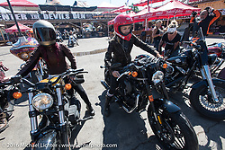 Sarah Furey and Leticia Cline of the Iron Lilies arrive at the Iron Horse Saloon after the Harley-Davidson Angels Ride to benefit the Nature Conservancy during the annual Sturgis Black Hills Motorcycle Rally.  SD, USA.  August 12, 2016.  Photography ©2016 Michael Lichter.