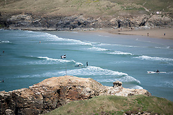 © Licensed to London News Pictures. 04/04/2020. Surfing at Perranporth beach during the coronavirus lockdown. Cornwall UK. . Photo credit: Mark Hemsworth/LNP