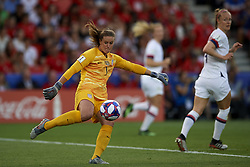 June 28, 2019 - Paris, France - Alyssa Naeher (Chicago Red Stars) of United States does passed during the 2019 FIFA Women's World Cup France Quarter Final match between France and USA at Parc des Princes on June 28, 2019 in Paris, France. (Credit Image: © Jose Breton/NurPhoto via ZUMA Press)