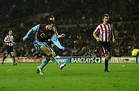 Photo: Andrew Unwin.<br />Sunderland v Aston Villa. The Barclays Premiership.<br />19/11/2005.<br />Aston Villa's Milan Baros (L) fires home his team's third goal.