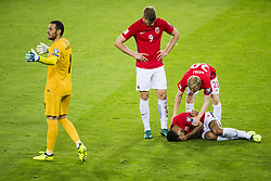 September 1, 2017 - Oslo, NORWAY - 170901 Joshua King lies down next to Alexander SÂ¿rloth and Mats MÂ¿ller D¾hli of Norway while goalkeeper Kamran Agayev of Azerbaijan reacts after Norway is awarded a penalty during FIFA World Cup Qualifier match between Norway and Azerbaijan on September 1, 2017 in Oslo..Photo: Fredrik Varfjell / BILDBYRN / kod FV / 150000 (Credit Image: © Fredrik Varfjell/Bildbyran via ZUMA Wire)