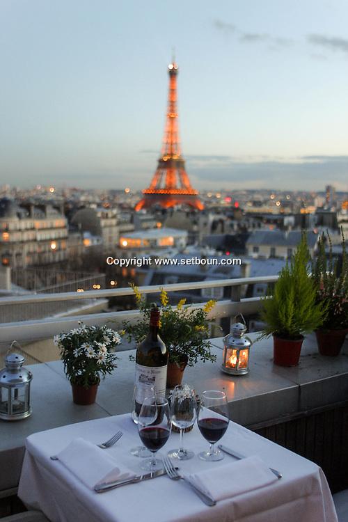 France Paris. the restaurant of the maison de sarre has a panoramic view over paris