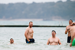 Alex Giltrow looks on as Bristol Rugby take part in a morning after game recovery session in the sea - Rogan/JMP - 29/10/2017 - RUGBY UNION - Jersey Marine Lake - St Helier, Jersey - Jersey Reds v Bristol Rugby - Greene King IPA Championship.