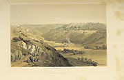 Jerusalem from the Mount of Olives from The Holy Land : Syria, Idumea, Arabia, Egypt & Nubia by Roberts, David, (1796-1864) Engraved by Louis Haghe. Volume 1. Book Published in 1855 by D. Appleton & Co., 346 & 348 Broadway in New York.