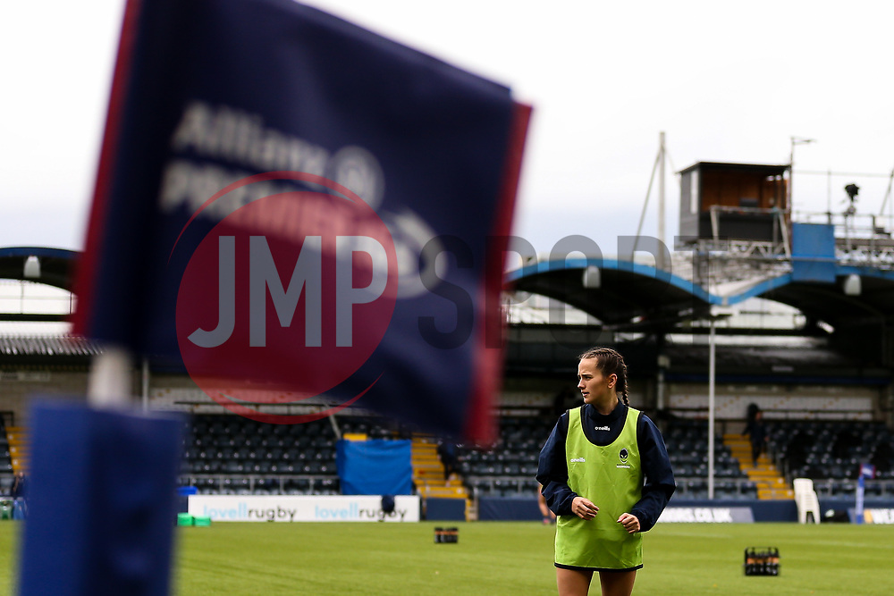 'Caity Mattinson of Worcester Warriors Women warms up in front of the Allianz Premier 15's flag - Mandatory by-line: Nick Browning/JMP - 24/10/2020 - RUGBY - Sixways Stadium - Worcester, England - Worcester Warriors Women v Wasps FC Ladies - Allianz Premier 15s