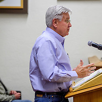 Allsup's business director George Banister addresses city officials during the Gallup city council meeting at city hall in Gallup Tuesday.