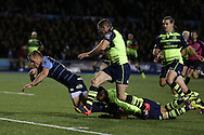 Gareth Anscombe of the Cardiff Blues (10) scores his teams 1st try.  Guinness Pro12 rugby match, Cardiff Blues v Leinster at the Cardiff Arms Park in Cardiff, South Wales on Saturday 1st October 2016.<br /> pic by Andrew Orchard, Andrew Orchard sports photography.