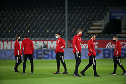 LEUVEN, BELGIUM - Wednesday, March 24, 2021: Wales' goalkeeper Wayne Hennessey (L) abd captain Gareth Bale inspect the pitch before the FIFA World Cup Qatar 2022 Qualifying game between Belgium and Wales at the King Power Den dreef Stadium. Belgium won 3-1. (Pic by Vincent Van Doornick/Isosport/Propaganda)