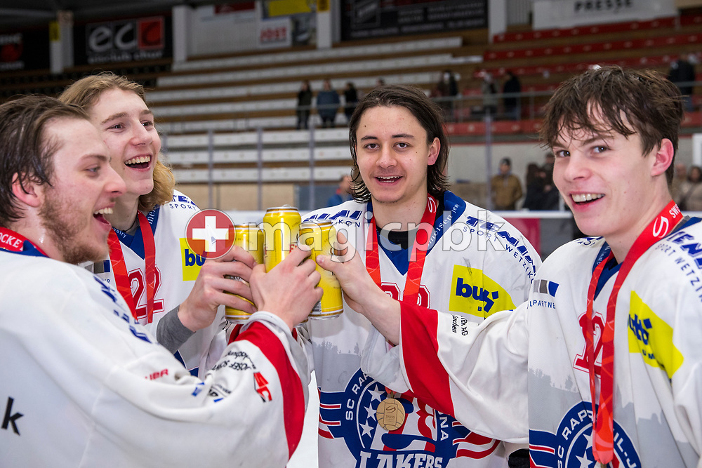 (L-R) Rapperswil-Jona Lakers players Nico Alena, Kim Lang, Siro Rutzer and Nicola Meier celebrate after winning ice hockey game 4 of the Elite B Playoff Final between EHC Chur Capricorns and Rapperswil-Jona Lakers in Chur, Switzerland, Friday, March 16, 2018. (Photo by Patrick B. Kraemer / MAGICPBK)