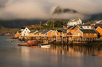 Yellow rorbu cabins at Sakrisøy, Moskenesøy, Lofoten Islands, Norway