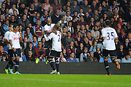 Tottenham's Jermain Defoe (c)celebrates after he scores the 1st goal. Capital one cup 3rd round match, Aston Villa v Tottenham Hotspur at Villa Park in Birmingham on Tuesday 24th Sept 2013. pic by Andrew Orchard, Andrew Orchard sports photography.